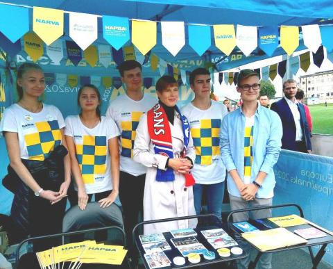 Narva 2024 volunteers and President of Estonia, Kersti Kaljulaid